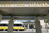 A DART train arrives at Fair Park Station. The task force emphasized that Fair Park should be turned over to a nonprofit group and provided with improved funding.( Andy Jacobsohn  -  Staff Photographer )