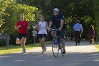 The Katy Trail in the heart of Dallas is popular, among other reasons, for the space it provides runners and bicylclists.