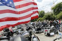 Bikes lined up in the parking lot during a motorcycle rally near McLennan County Courthouse in Waco, on Sunday, June 7, 2015. The bikers peacefully protested the recent action of local, state and federal law enforcement and administrative officials. (Vernon Bryant/The Dallas Morning News)(Vernon Bryant - Staff Photographer)