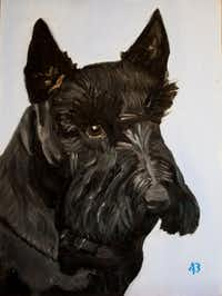 "This painting, ""Barney,"" is a piece that former President George W. Bush did of his late Scottish terrier Barney. The dog passed away in February 2013.(George W. Bush)"