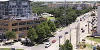 This rooftop view from the Hotel Palomar shows where a suspension bridge is being built across Mockingbird Lane. The bridge will connect the Katy Trail to the Mockingbird DART Station and the trails that run down to White Rock Lake.(Photo by MAX WOLENS <137>Max Wolens<137> - DMN Staff Photographer)