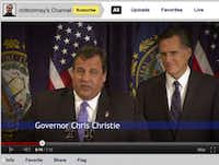 A Mitt Romney video features an endorsement from New Jersey Gov. Chris Christie.