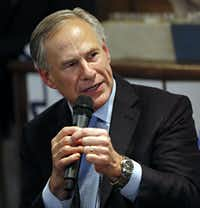 Texas Gov. Greg Abbott speaks to a crowd at Pecan Lodge  Sept. 17 in Dallas.  (G.J. McCarthy/The Dallas Morning News)