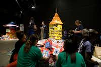 """Girl Scouts from Troop 4215 at Dade Middle School assembled their piece """"Together We Join."""""""