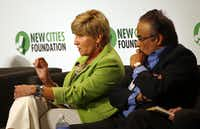 Betsy Price (left), mayor of Fort Worth, takes part in a panel as Anil Menon listens during the New Cities Summit 2014 Wednesday, June 18, 2014 at the Winspear Opera House in Dallas' Arts District. (G.J. McCarthy/The Dallas Morning News)(G.J. McCarthy - Staff Photographer)