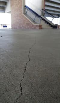 Cracks have formed in the concourses at Eagle Stadium, forcing the shutdown.VERNON BRYANT  - staff photographer