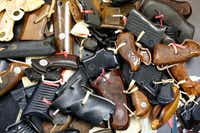 First Presbyterian Church of Dallas' ministry The Stewpot took in more  than 50 guns with its buyback  effort Saturday, while more than 20 were auctioned off at the counterevent.