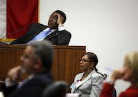Dallas Mayor Dwaine Caraway testifies Tuesday at the George L. Allen Courts Bldg. in Dallas in a hearing on his suit to block the city from releasing records about a disturbance at his home on Jan. 2.