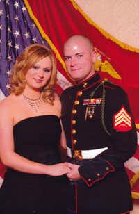 An undated photo shows Andrew Litz, who served three tours in Iraq, with his wife, Heather.