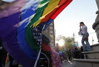 Meg Hargis gives a speech for equal rights during a marriage equality rally in support of same-sex marriage at the Legacy of Love monument in Dallas on March 25.