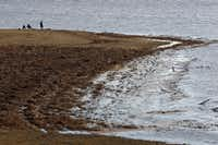 Water from Lavon Lake covered up parts of a grassy area in January.