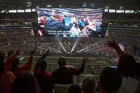 Switchfoot performed Sunday during the Harvest America event at AT&T Stadium in Arlington. (G.J. McCarthy/The Dallas Morning News)