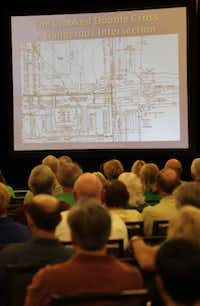 Uphill road for opposition: Protect Our Legacy organized a meeting Thursday at the Westin Stonebriar resort to discuss the RaceTrac development plans, which have been approved by the Planning and Zoning Commission.