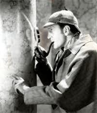 Basil Rathbone stars as Sherlock Holmes in SPIDER WOMAN (1944).