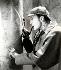 Basil Rathbone stars as Sherlock Holmes in SPIDER WOMAN (1944).