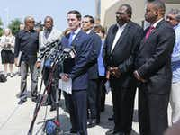 Dallas County Judge Clay Jenkins held a news conference Thursday detailing plans to help with  structures to house unaccompanied immigrant children.(Louis DeLuca - Staff Photographer)