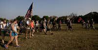 Participants began the 10 mile hump, a military term for a march while carrying a heavy rucksack, on Thursday in Frisco.