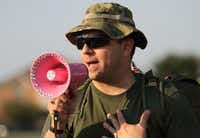 Tim Nelson, who was in Afghanistan a year ago, spoke to participants at the 10-mile hump.