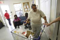Client Marilyn Jackson left with groceries from the Cedar Hill Food Pantry.