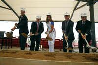 From left: Frisco ISD superintendent Dr. Jeremy Lyon, FC Dallas chairman and CEO Clark Hunt, former member of the U.S. women's soccer tea, Brandi Chastain, FC Dallas president Dan Hunt and Frisco Mayor Maher Maso broke ground for Toyota Stadium in Frisco in May.( Nathan Hunsinger  -  Staff Photographer )