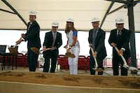 From left: Frisco ISD superintendent Dr. Jeremy Lyon, FC Dallas chairman and CEO Clark Hunt, former member of the U.S. women's soccer tea, Brandi Chastain, FC Dallas president Dan Hunt and Frisco Mayor Maher Maso broke ground for Toyota Stadium in Frisco in May.Nathan Hunsinger  -  Staff Photographer