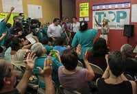Wendy Davis thanked supporters Sept. 7 at a field office of the Texas Organizing Project, whose political arm is working in minority neighborhoods for get-out-the-vote efforts. Field operations are a big part of the Democratic candidate's campaign.(Jim Tuttle - Staff Photographer)