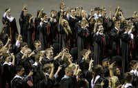 West High seniors sang their school song to conclude their graduation ceremony at the Ferrell Center in Waco on Friday night.
