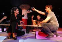 "Vanessa DeSilvio (left) rehearses with Montgomery Sutton (right) and Gregory Lush (center) in ""Tomorrow Come Today"" at Undermain Theatre in Dallas on Tuesday, September 9, 2014.( Lara Solt  -  Staff Photographer )"