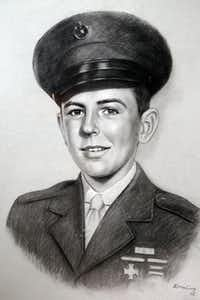 A drawing  made from a photograph shows Carl Matthews in 1942.(Carl Matthews - Staff Photographer)