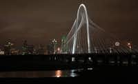 The new Calatrava bridge, named the Margaret Hunt Hill Bridge, after lighting ceremonies, in Dallas, Texas, on Tuesday, January 10, 2012. The Bridge crosses the Trinity River.