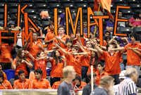 Students from United Engineering and Technology Magnet High School in Laredo cheered on their team during the semifinals in the Texas BEST Regional Robotics Championship on Saturday at the Curtis Culwell Center in Garland.