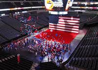 Part of the presentation in American Airlines Center.Louis DeLuca - Staff Photographer