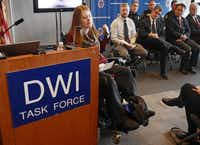 During a news conference Wednesday in Grand Prairie, Tonya Winchester, 27, told how she was paralyzed in a car accident while celebrating her high school graduation in 2005. Dallas and Tarrant counties joined together to announce their annual campaign to deter drunken driving during the holidays.(Photos by Ron Baselice - Staff Photographer)