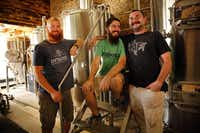 Owner Cary Hodson (center), his brother-in-law and business partner Casey Vincent (left) and pit master Tex Morgan plan to open Intrinsic Smokehouse & Brewery in December.( Staff photo by TOM FOX   -  DMN )