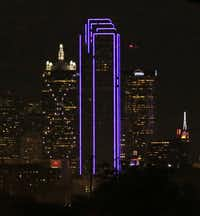 Downtown Dallas' Bank of America Plaza skyscraper came into the 21st century with new high-tech lights.