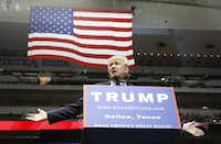 Republican presidential candidate Donald Trump speaks at American Airlines Center in Dallas, Texas Monday September 14, 2015. (Nathan Hunsinger/The Dallas Morning News)