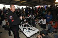 Waco Police PIO, Sgt. William Swanton give a press briefing near the site of a massive explosion at a fertilizer plant in West, Texas.(Michael Ainsworth - Staff Photographer)