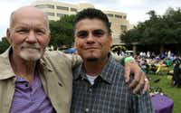 Larry Mooneyham (left), with Juan Espino at the reunion, received the liver of Espino's wife at Baylor.