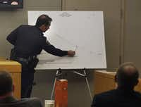 Irving police investigator James Fairbairn on Wednesday referred to a map he drew of the crash site along the State Highway 114 service road.