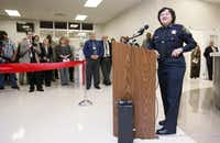Sheriff Lupe Valdez speaks during the unveiling of the new medical facility at the Dallas County Jail, in Dallas TX on March 16, 2015. (Kye R. Lee/The Dallas Morning News)