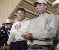 Gov. Rick Perry appeared in West on Friday with Mayor Tommy Muska.