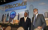 Denver Mayor Michael Hancock and Cleveland Mayor Frank Jackson, pictured during the U.S. Conference of Mayors at the Omni Hotel in Dallas,  on June 20, 2014. (Michael Ainsworth/The Dallas Morning News)Michael Ainsworth - Staff Photographer