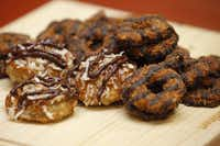 Known in some parts as Caramel deLite, the Samoa (at right, before the fryer) is the Girl Scouts' second-most-popular cookie. (The top-selling Thin Mint wouldn't hold up as deep-fried fare because its peppermint oil would separate, the baker says.)