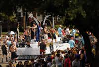 The Dallas Bears & Leather Knights float makes its way down Cedar Springs Rd. during the Alan Ross Texas Freedom Parade in Dallas, Sunday, September 21, 2014. The gay, lesbian, bisexual and transgender parade, which had over 80 entries, ended at Lee Park. (Tom Fox/The Dallas Morning News)(Tom Fox - Staff Photographer)