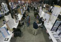 Rows of science projects on display during the annual Dallas Science Fair is held at Fair Park, in Dallas on Feb 21, 2015. (Michael Ainsworth/The Dallas Morning News)(Michael Ainsworth - Staff Photographer)