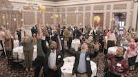 At the closing of the first Mayor's Community Table, attendees threw small beach balls in the air. More than 100 people attended and sat in tables of five or six — city staff intentionally sat guests, who were asked to provide their age and race, with those of different backgrounds. Of guests who attended, 52 percent were white, 30 percent were black, 13 percent were Hispanic and 5 percent were Asian or another race.( Staff photo by Ron Baselice  -  DMN )