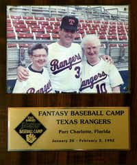Sister Frances Evans (left) and Sister Maggie Hession posed for a photo with Nolan Ryan at the Rangers Fantasy Baseball Camp in Port Charlotte, Fla., in 1992.