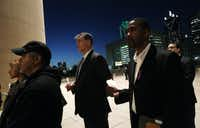 Mayor Mike Rawlings spoke at a candlelight vigil at City Hall in January.(Mona Reeder - Staff Photographer)