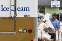 A Blue Bell Creameries employee loads recalled ice cream into a truck after picking it up from a convenience store on Thursday, April 23, 2015, in Brenham. Blue Bell recalled all of its products earlier in the week after more ice cream samples tested positive for Listeria. (Smiley N. Pool/The Dallas Morning News)
