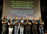 "Members of the Forte Vocal Choir at Cedar Hill High School sing ""Lift Every Voice and Sing"" at the event.( Ron Baselice  -  Staff Photographer )"